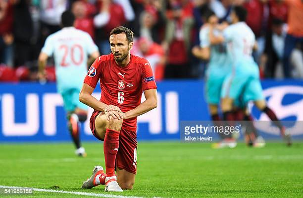 Tomas Sivok of Czech Republic gets up after his team conceded a goal during the UEFA EURO 2016 Group D match between Czech Republic and Turkey at...