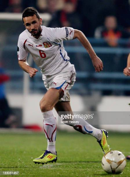 Tomas Sivok of Czech Republic in action during the EURO 2012 Qualifier Play Off Second Leg between Montenegro and the Czech Republic at the City...