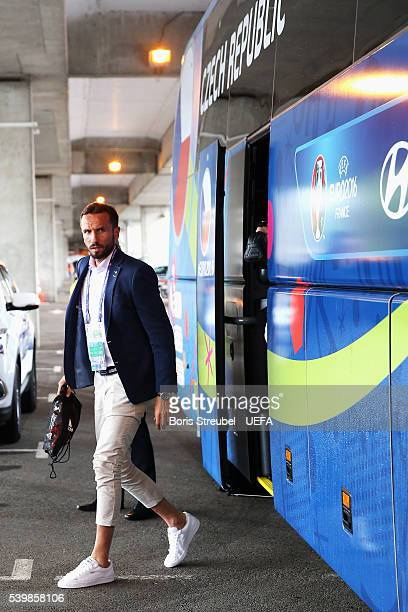 Tomas Sivok of Czech Republic is seen on arrival at the stadium prior to the UEFA EURO 2016 Group D match between Spain and Czech Republic at Stadium...