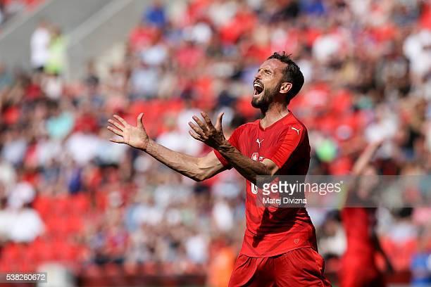 Tomas Sivok of Czech Republic reacts during an international friendly match between Czech Republic and Korea at the Eden Stadium on June 5 2016 in...