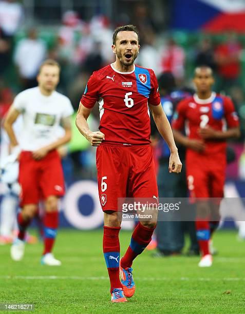 Tomas Sivok of Czech Republic reacts during the UEFA EURO 2012 group A match between Greece and Czech Republic at The Municipal Stadium on June 12...