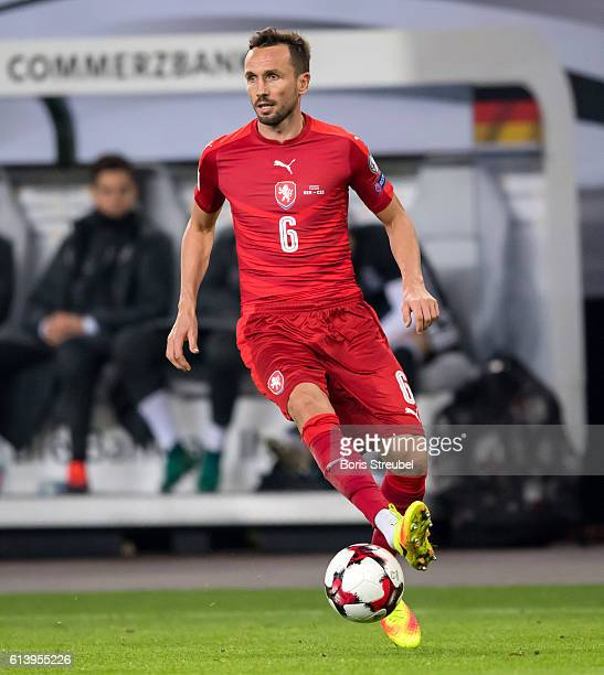 Tomas Sivok of Czech Republic runs with the ball during the FIFA World Cup 2018 qualifying match between Germany and Czech Republic at...