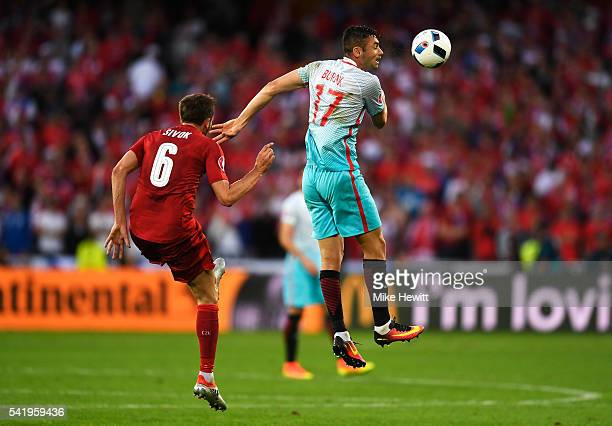 Tomas Sivok of Czech Republic tackles Burak Yilmaz of Turkey during the UEFA EURO 2016 Group D match between Czech Republic and Turkey at Stade...