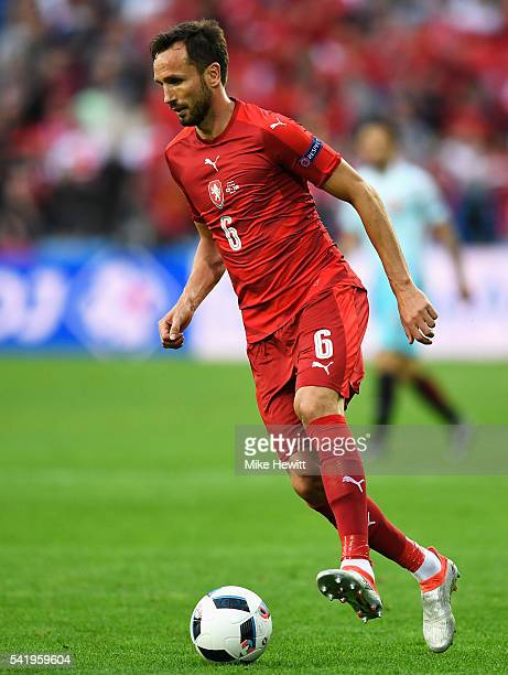 Tomas Sivok of Czech Republic with the ball during the UEFA EURO 2016 Group D match between Czech Republic and Turkey at Stade BollaertDelelis on...