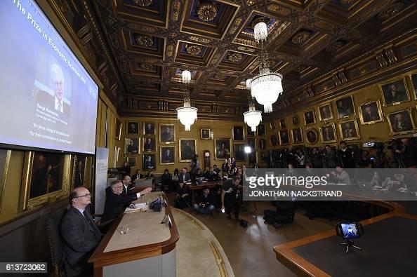 Tomas Sjoestroem member of the Committee for the Prize in Economic Sciences in Memory of Alfred Nobel Goran K Hansson Secretary General of the Royal...