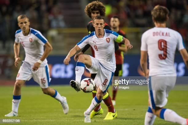 Tomas Soucek of Czech Republic Marouane Fellaini of Belgium Vladimir Darida of Czech Republicduring the friendly match between Belgium and Czech...