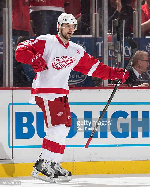Tomas Tatar of the Detroit Red Wings celebrates his second period goal during an NHL game against the Boston Bruins at Joe Louis Arena on January 18...