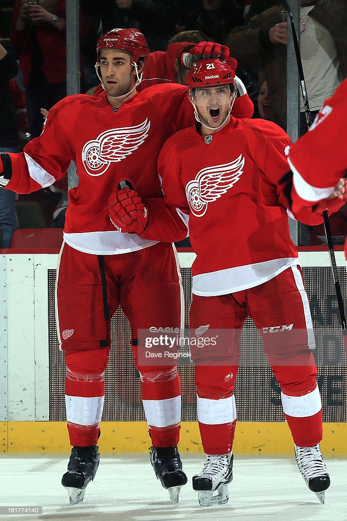 Tomas Tatar #21 of the Detroit Red Wings celebrates with teamate Kyle Quincy #27 after scoring a goal during a NHL game against the Anaheim Ducks and on February 15, 2013 at Joe Louis Arena in Detroit, Michigan.