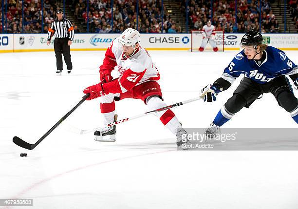 Tomas Tatar of the Detroit Red Wings controls the puck against Vladislav Namestnikov of the Tampa Bay Lightning during the second period at the Tampa...