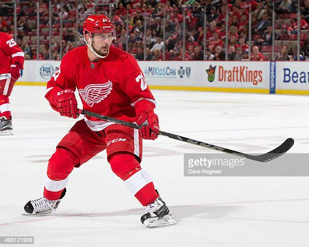 Tomas Tatar of the Detroit Red Wings follows the play during an NHL game against the Toronto Maple Leafs at Joe Louis Arena on October 9 2015 in...