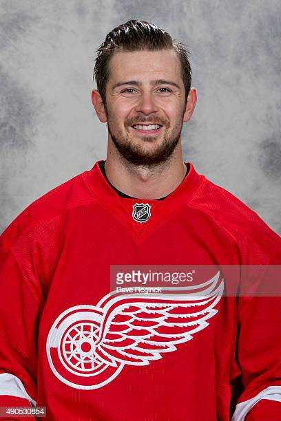 Tomas Tatar of the Detroit Red Wings has his official NHL head shot taken at Centre Ice Arena on September 17 2015 in Traverse City Michigan