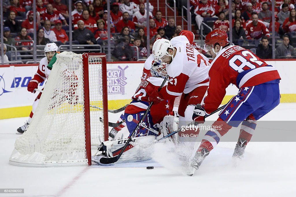 Tomas Tatar #21 of the Detroit Red Wings takes a shot on goal against the Washington Capitals in the first period at Verizon Center on November 18, 2016 in Washington, DC.