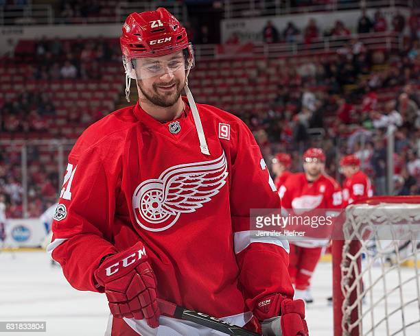 Tomas Tatar of the Detroit Red Wings warms up prior to an NHL game against the Montreal Canadiens at Joe Louis Arena on January 16 2017 in Detroit...