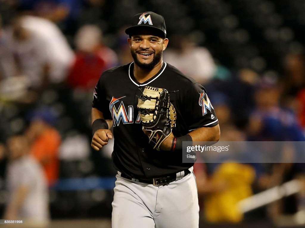 Tomas Telis #18 of the Miami Marlins celebrates the 3-1 win over the New York Mets on August 18, 2017 at Citi Field in the Flushing neighborhood of the Queens borough of New York City.
