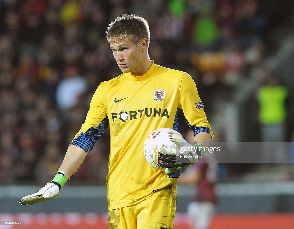 <a gi-track='captionPersonalityLinkClicked' href=/galleries/search?phrase=Tomas+Vaclik&family=editorial&specificpeople=5437912 ng-click='$event.stopPropagation()'>Tomas Vaclik</a> of AC Sparta Praha in action during the UEFA Europa League group stage match between AC Sparta Praha and Athletic Club held on October 4, 2012 at the Stadion Letna in Prague, Czech Republic.