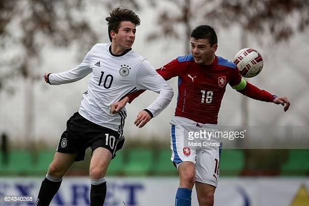 Tomas Vincour of Czech Republic battles for the ball with Keanu Schneider of Germany during the international friendly match between U16 Czech...