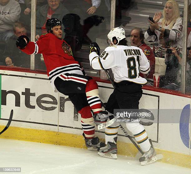 Tomas Vincour of the Dallas Stars checks Brent Seabrook of the Chicago Blackhawks at the United Center on February 23 2012 in Chicago Illinois