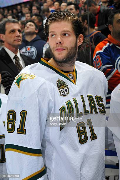 Tomas Vincour of the Dallas Stars stands for the singing of the national anthem prior to a game against the Edmonton Oilers on February 12 2013 at...