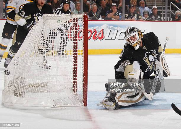 Tomas Vokoun of the Pittsburgh Penguins can't stop a shot by David Krejci of the Boston Bruins in Game Two of the Eastern Conference Final during the...