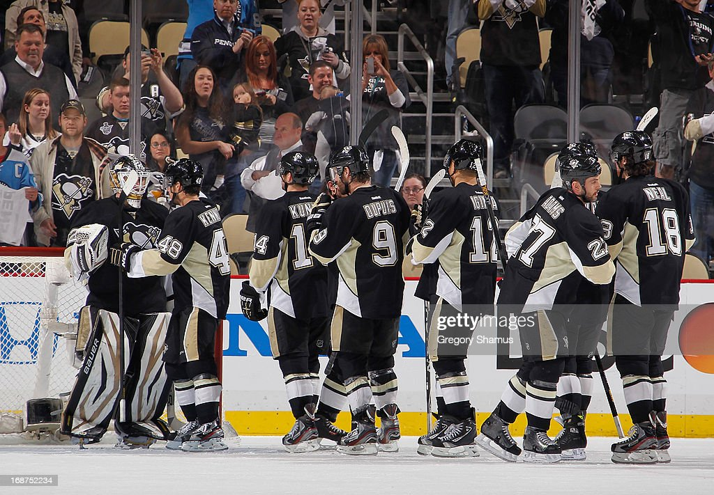 Tomas Vokoun #92 of the Pittsburgh Penguins celebrates with teammates after 1 4-1 win over the Ottawa Senators in Game One of the Eastern Conference Semifinals during the 2013 NHL Stanley Cup Playoffs at Consol Energy Center on May 14, 2013 in Pittsburgh, Pennsylvania.