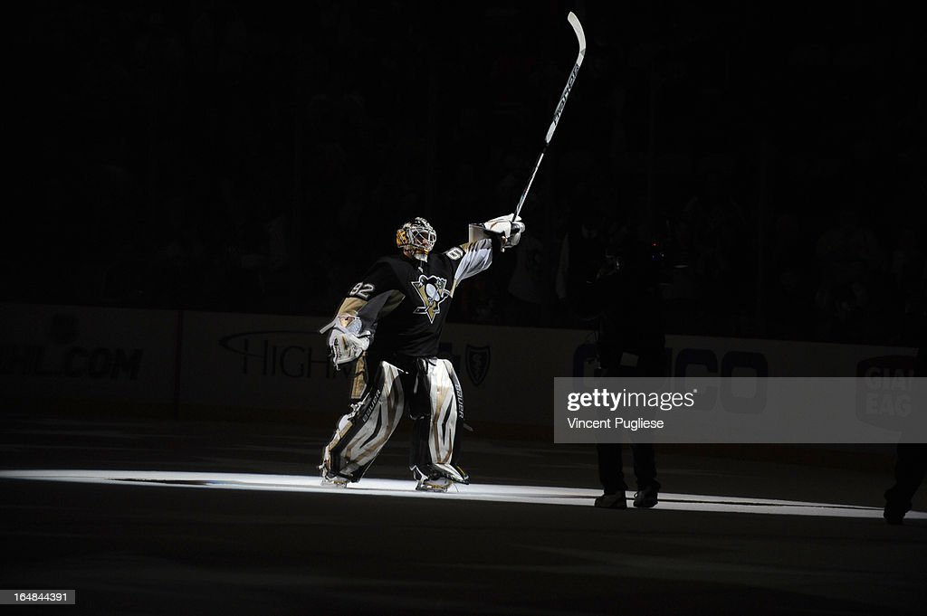 Tomas Vokoun #92 of the Pittsburgh Penguins is selected the first star of the game after recording a 4-0 shutout against the Winnipeg Jets on February 28, 2013 at the CONSOL Energy Center in Pittsburgh, Pennsylvania.