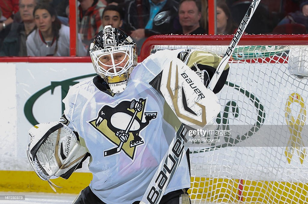 <a gi-track='captionPersonalityLinkClicked' href=/galleries/search?phrase=Tomas+Vokoun&family=editorial&specificpeople=202179 ng-click='$event.stopPropagation()'>Tomas Vokoun</a> #92 of the Pittsburgh Penguins makes a blocker save against the Ottawa Senators on April 22, 2013 at Scotiabank Place in Ottawa, Ontario, Canada.