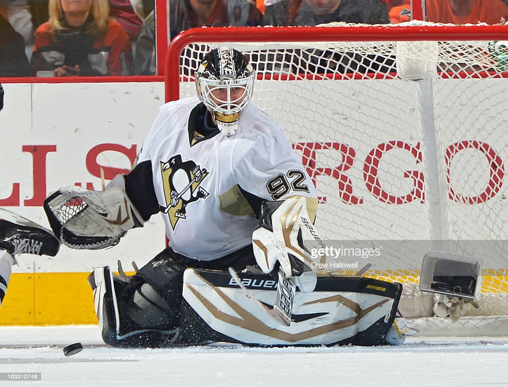 Tomas Vokoun #92 of the Pittsburgh Penguins makes a save during the game against the Philadelphia Flyers at the Wells Fargo Center on March 7, 2013 in Philadelphia, Pennsylvania. The Penguins won 5-4.