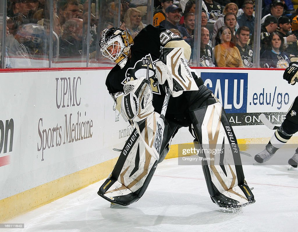 Tomas Vokoun #92 of the Pittsburgh Penguins moves the puck against the Winnipeg Jets on March 28, 2013 at Consol Energy Center in Pittsburgh, Pennsylvania.