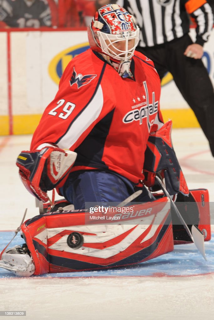 <a gi-track='captionPersonalityLinkClicked' href=/galleries/search?phrase=Tomas+Vokoun&family=editorial&specificpeople=202179 ng-click='$event.stopPropagation()'>Tomas Vokoun</a> #29 of the Washington Capitals makes a save during an NHL hockey game against the Boston Bruins on February 5, 2012 at the Verizon Center in Washington, DC.
