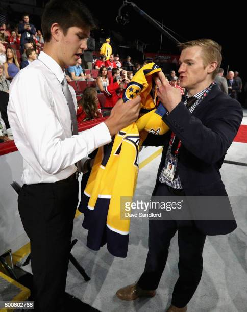Tomas Vomacka receives his jersey after being selected 154th overall by the Nashville Predators during the 2017 NHL Draft at United Center on June 24...