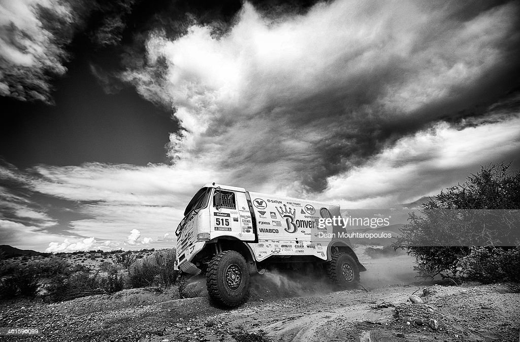 Image has been converted to black and white.) (#515) Tomas Vratny, Milan Holan and Jaroslav Miskolci of Czech Republic for Tatra Bonver Dakar Project compete during Day 5 of the 2014 Dakar Rally on January 9, 2014 in San Jose, Argentina.