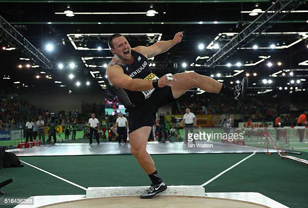 Tomas Walsh of New Zealand competes in the Men's Shot Put Final during day two of the IAAF World Indoor Championships at Oregon Convention Center on...