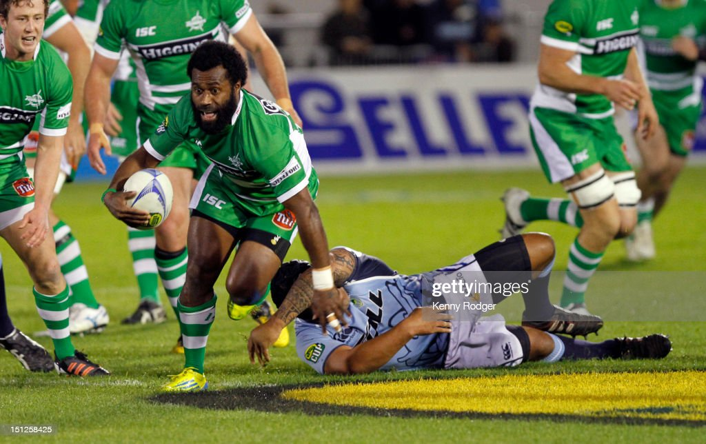 Tomasi Cama of Manawatu breaks the Northland defence line during the round four ITM Cup match between Northland and Manawatu at Toll Stadium on September 5, 2012 in Whangarei, New Zealand.