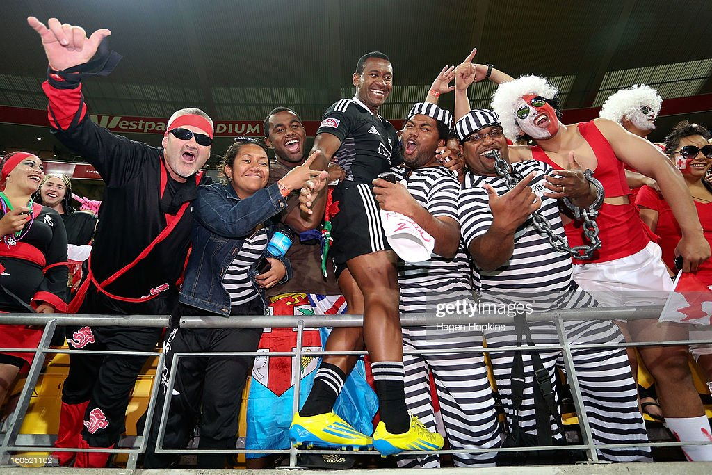 Tomasi Cama of the All Blacks Sevens mixes with fans during the 2013 Wellington Sevens at Westpac Stadium on February 2, 2013 in Wellington, New Zealand.