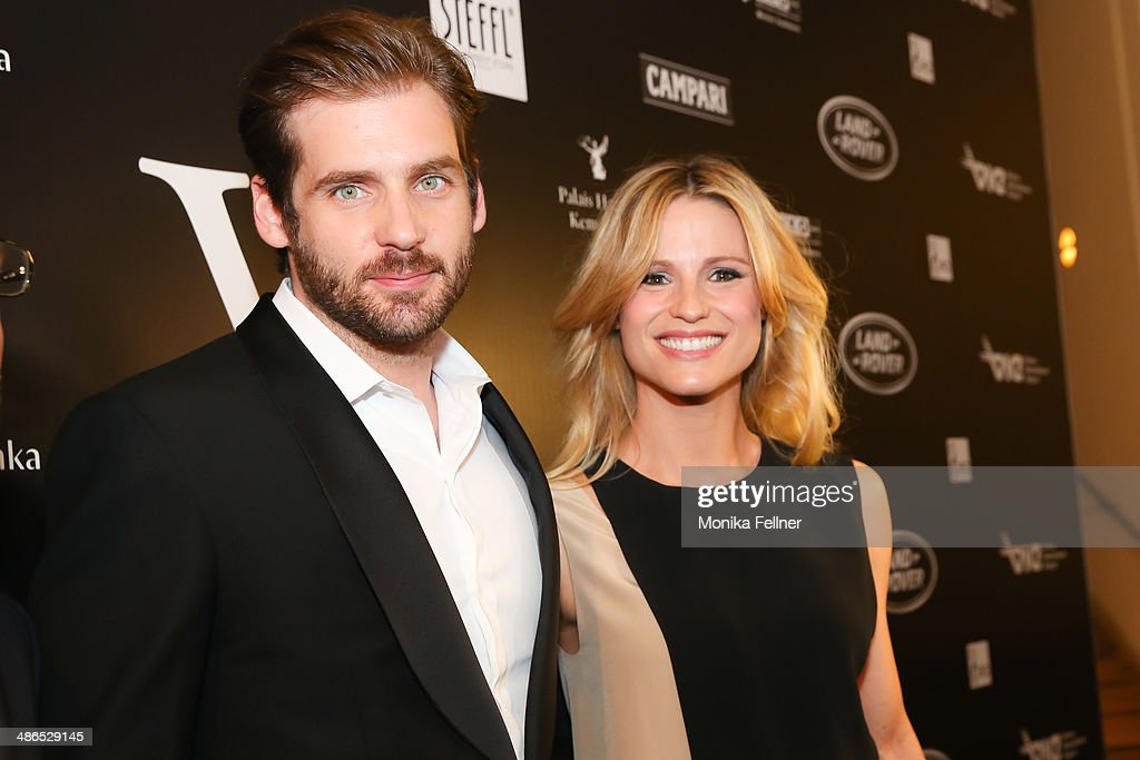 Tomaso Trussardi and Michelle Hunziker attend the Vienna Awards 2014 at MAK Museum fuer angewandte Kunst on April 24 2014 in Vienna Austria