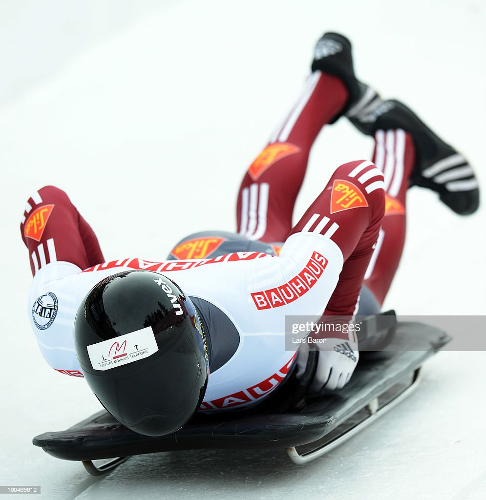 Tomass Dukurs of Latvia competes during the man's skeleton first heat of the IBSF Bob & Skeleton World Championship at Olympia Bob Run on February 1, 2013 in St Moritz, Switzerland.