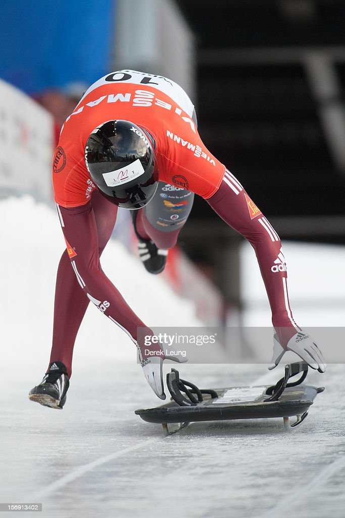 Tomass Dukurs of Latvia competes in the skeleton on day 2 of the IBSF 2012 Bobsleigh and Skeleton World Cup on November 24, 2012 at the Whistler Sliding Centre in Whistler, British Columbia, Canada. Tomass won third place.