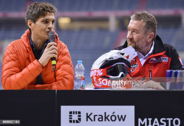Tomasz Gagat the event promoter and Rafal Sonik a Polish quad rally driver promote Dakar Rally 2018 during a press conference ahead of the Krakow's...