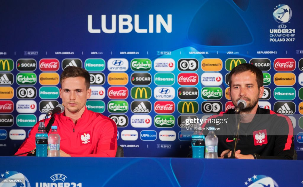 Tomasz Kdziora of Poland and Marcin Dorna, head coach of Poland during the Polish U21 national team press conference at Arena Lublin on June 18, 2017 in Lublin, Poland.
