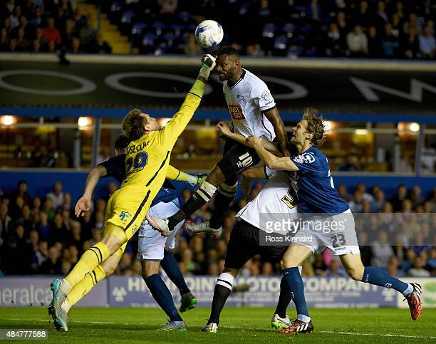 Tomasz Kuszczak of Birmingham saves from Darren Bent of Derby during the Sky Bet Championship match between Birmingham City and Derby County at St...