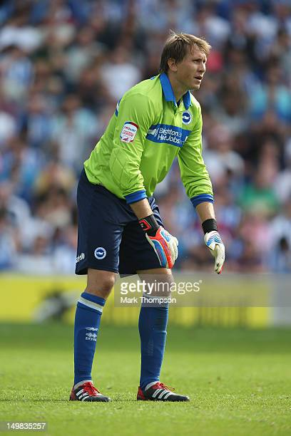 Tomasz Kuszczak of Brighton Hove Albion in action during the pre season friendly match between Brighton Hove Albion and Chelsea at the Amex Stadium...