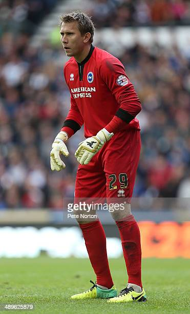 Tomasz Kuszczak of Brighton Hove Albion in action during the Sky Bet Championship Semi Final Second Leg between Derby County and Brighton Hove Albion...