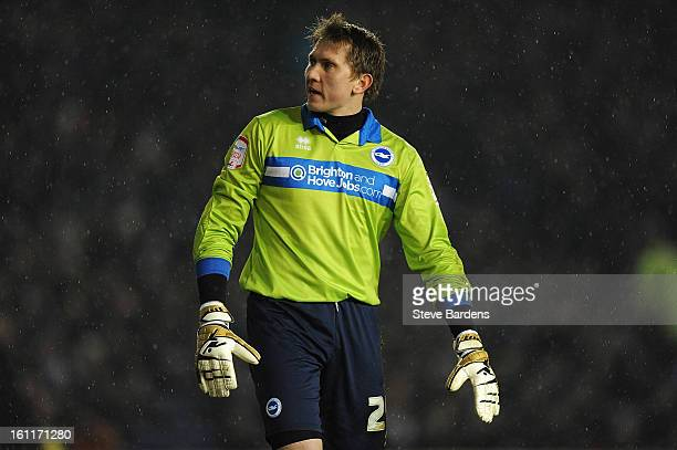 Tomasz Kuszczak of Brighton Hove Albion watches for the ball during the npower Championship match between Brighton Hove Albion and Hull City at Amex...