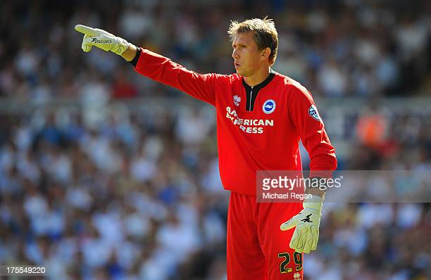 Tomasz Kuszczak of Brighton looks on during the Sky Bet Championship match between Leeds United and Brighton Hove Albion at Elland Road on August 03...