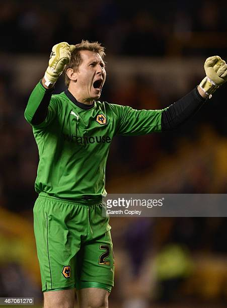 Tomasz Kuszczak of Wolves celebrates the goal scored by Nouha Dicko during the Sky Bet Championship match between Wolverhampton Wanderers and Derby...