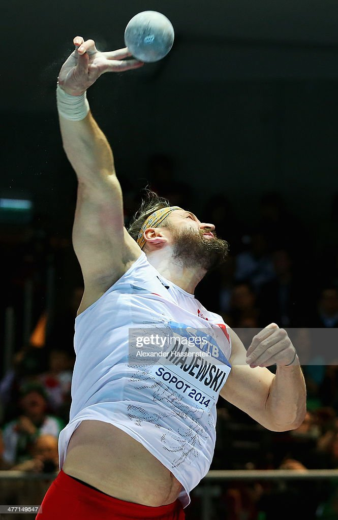 <a gi-track='captionPersonalityLinkClicked' href=/galleries/search?phrase=Tomasz+Majewski&family=editorial&specificpeople=1378951 ng-click='$event.stopPropagation()'>Tomasz Majewski</a> of Poland competes in the Men's Shot Put final during day one of the IAAF World Indoor Championships at Ergo Arena on March 7, 2014 in Sopot, Poland.