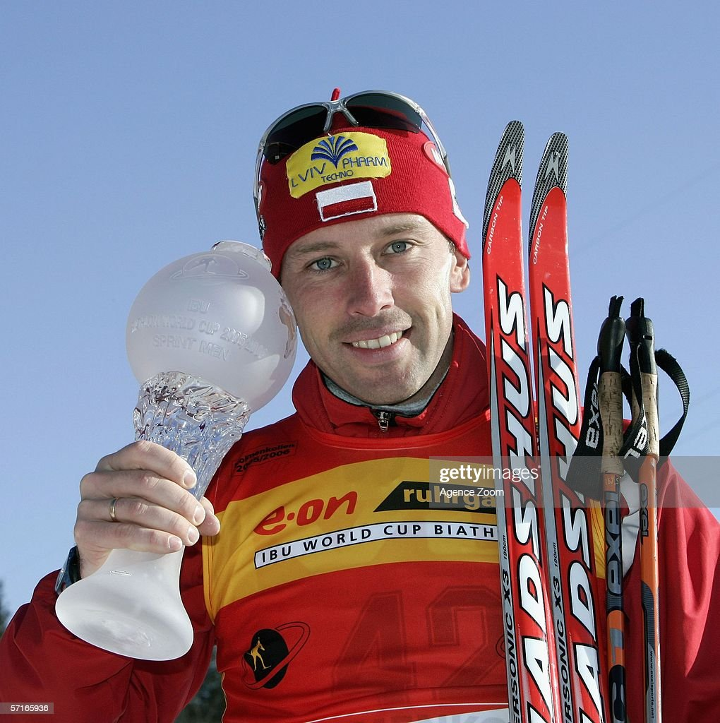 Tomasz Sikora of Poland poses after winning the the IBU Biathlon World Cup Men's 10km Sprint on March 23, 2006 in Holmenkollen, Norway.