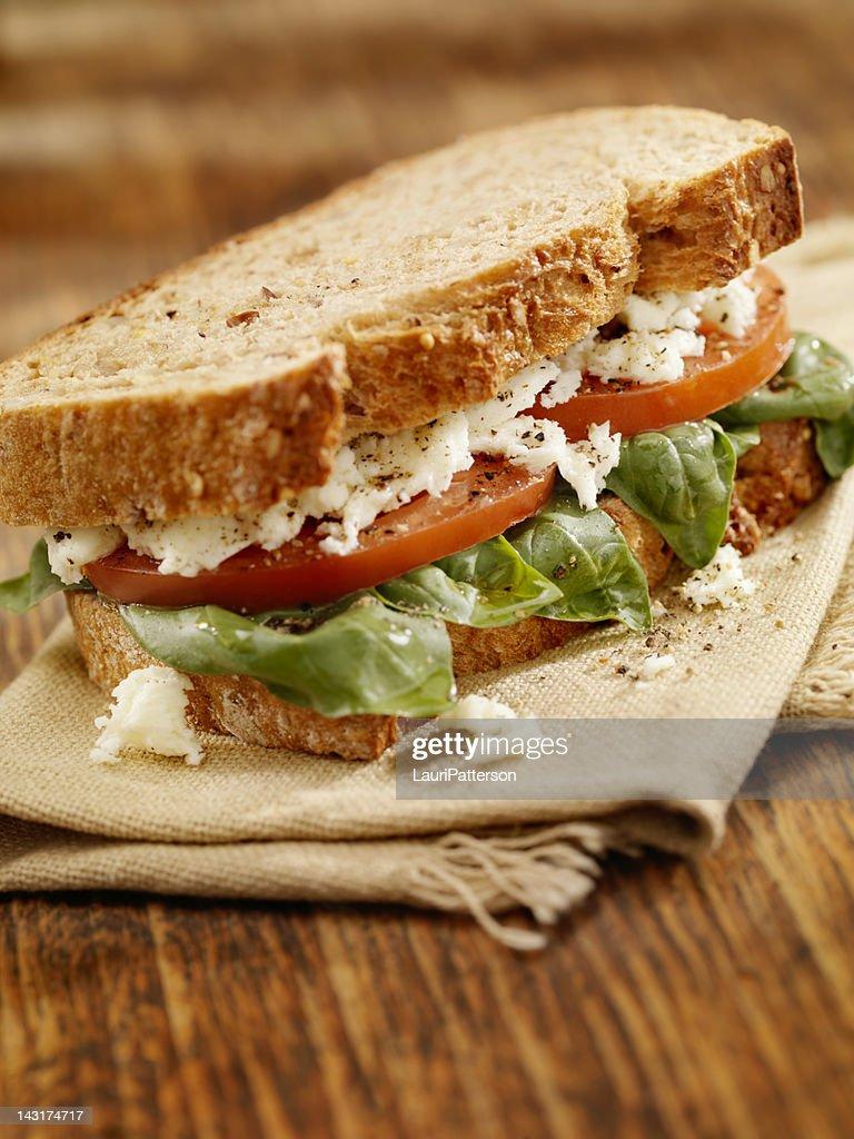 Tomato And Basil Sandwich : Stock Photo