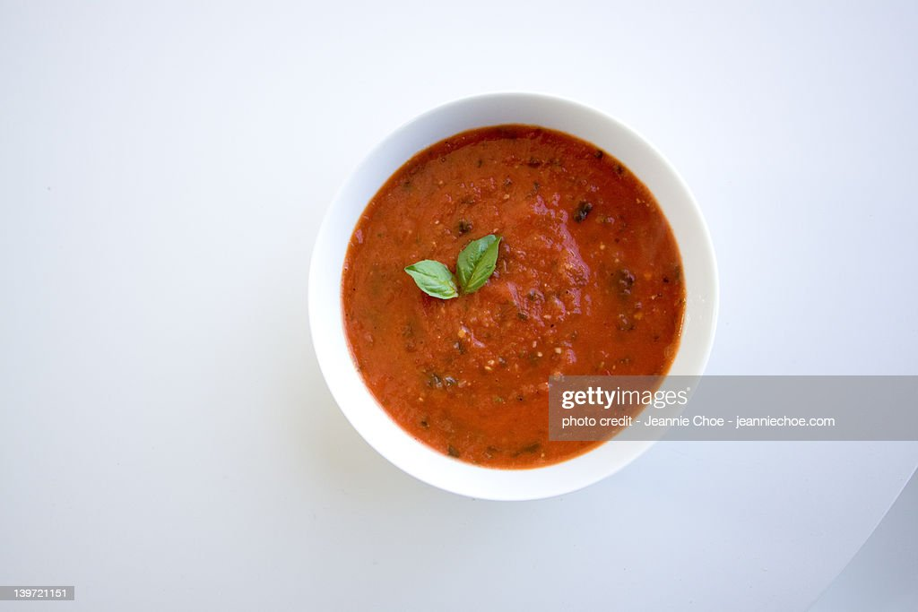 Tomato basil soup : Stock Photo