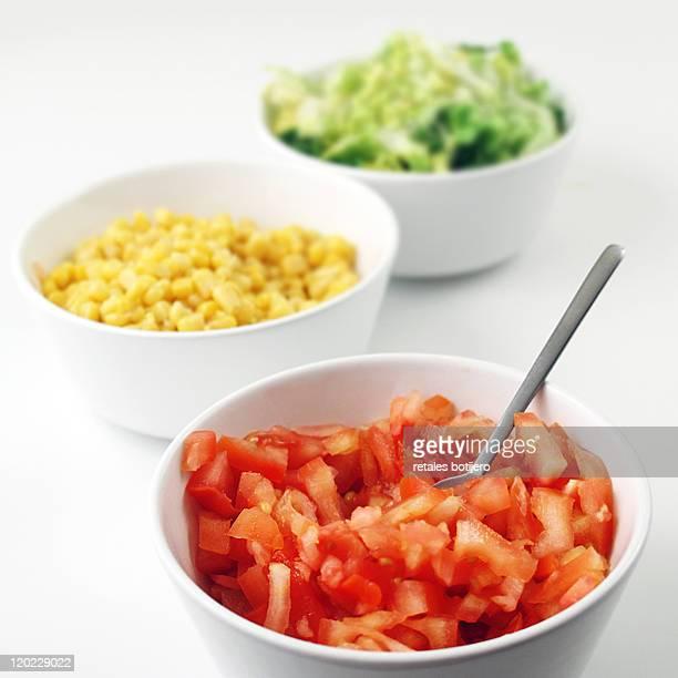 Tomato, corn and lettuce
